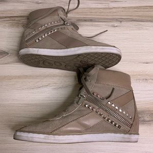 Coach Shoes - Coach Didi Taupe Wedge Studded Sneakers